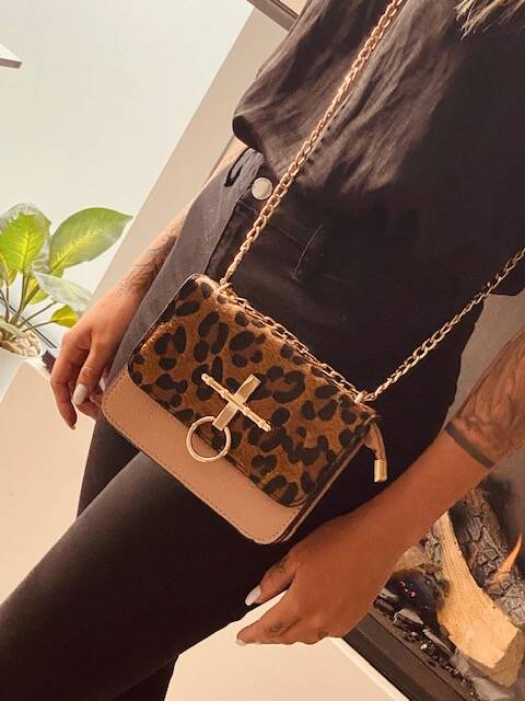 Leopard Chain Bag Pink
