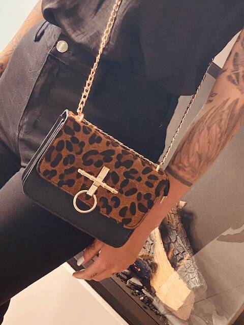 Leopard Chain Bag Black