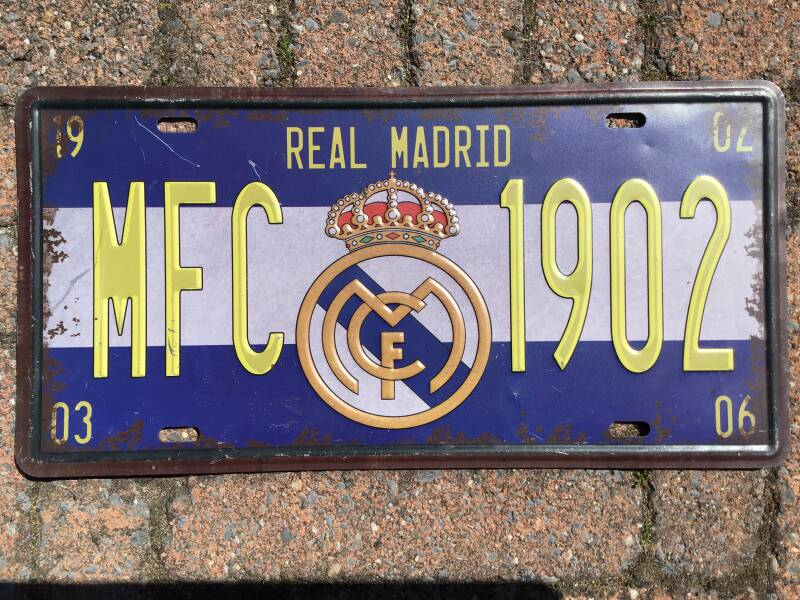 vintage replica numberplate: Real Madrid