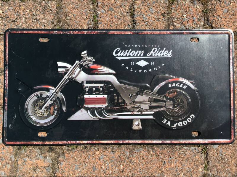 vintage replica numberplate: Custom Rides California