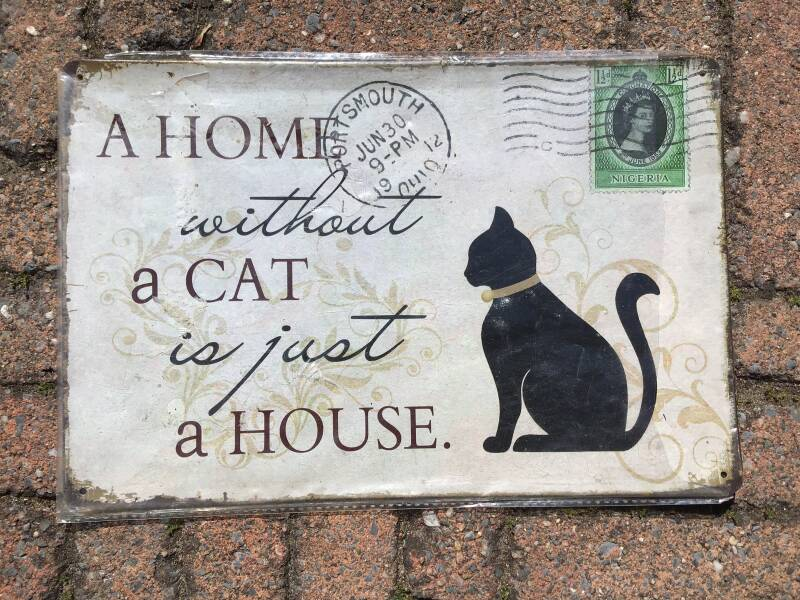 vintage replica reclamebord a home without a cat