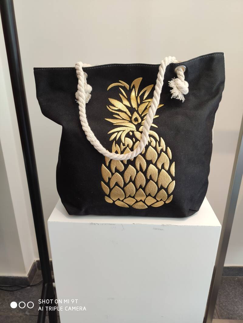 Beach Bag Pineapple Black