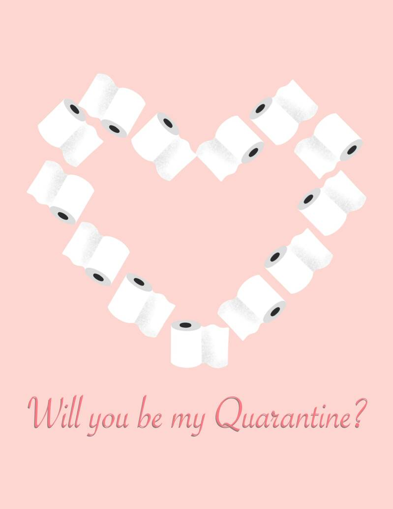 A6 VALENTIJNSDAG KAART 'WILL YOU BE MY QUARANTINE?'