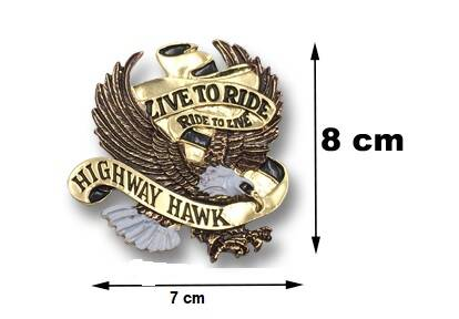 "01-561 - HWH Embleem ""'Eagle live to ride"" in goud"