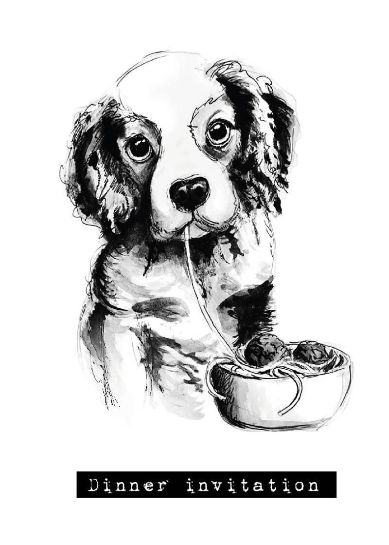 Sad Dog Dinner invitation Kaart