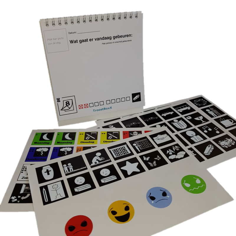 Aftel kalender met pictogram stickers