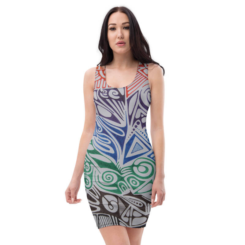 LIEVIX Trible-line color bodycon jurk