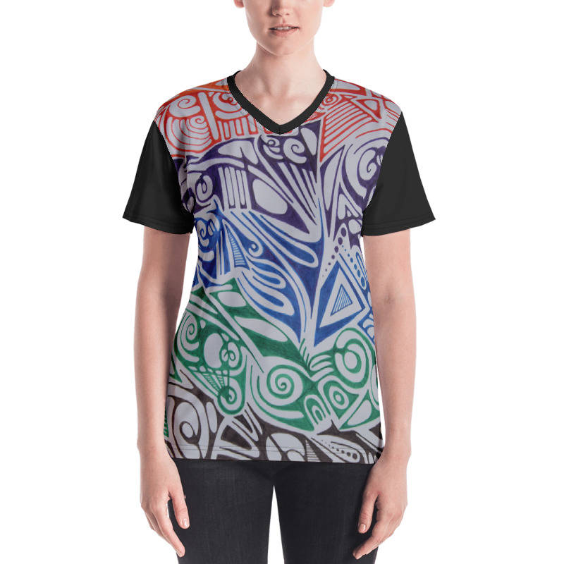 LIEVIX Trible-line color T-shirt zwart