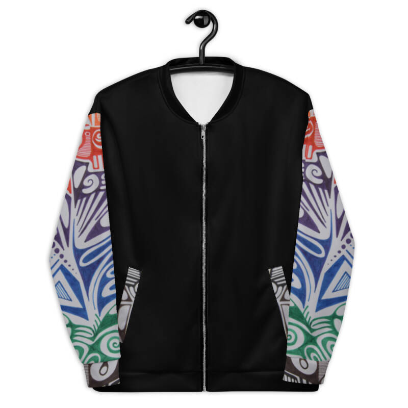 Lievix Trible-line color Bomber Jacket Sleeve