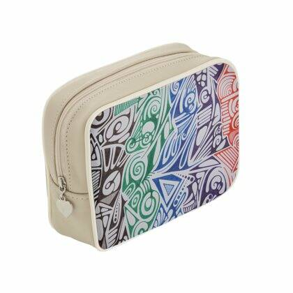 LIEVIX Trible-line color design make-up tas van soepel Italiaans nappaleer beige