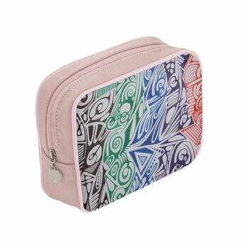 LIEVIX Trible-line color design make-up tas van soepel Italiaans nappaleer roze
