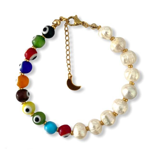 Chunky Multicolor Eyes Bracelet