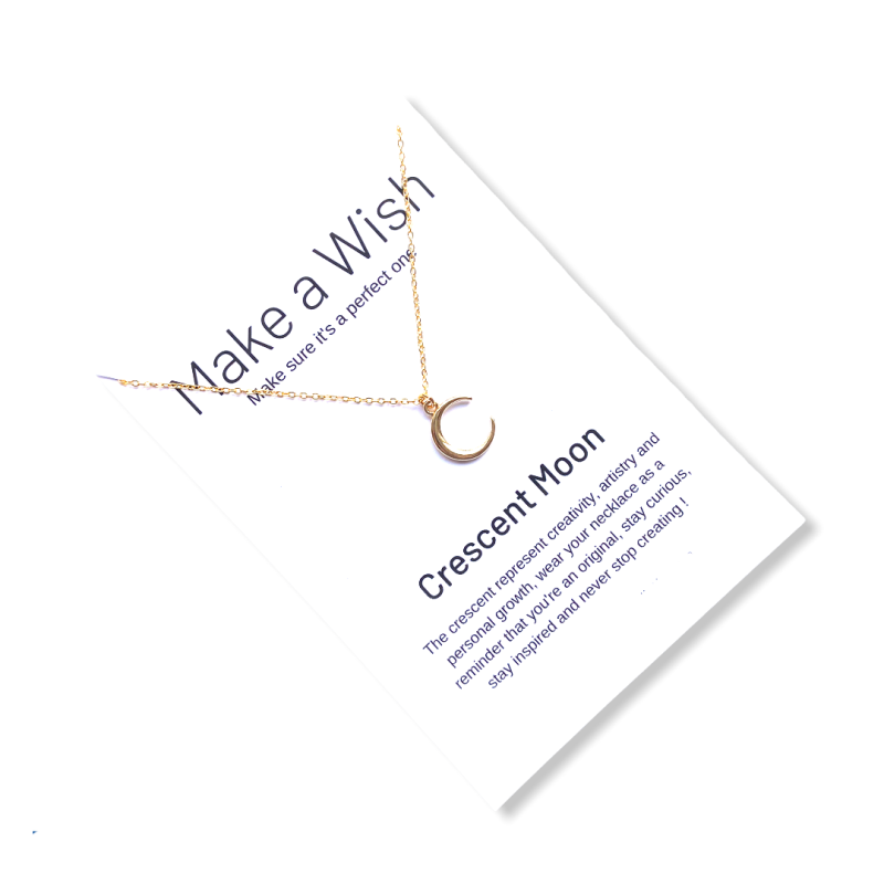 Crescent Moon Make a Wish Necklace