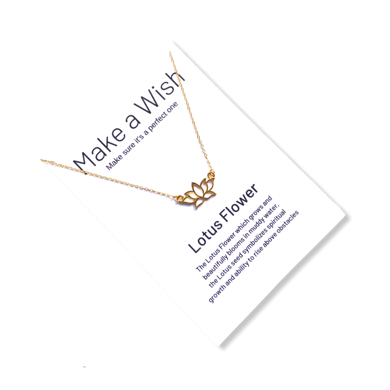 Lotus Flower Make a Wish Necklace