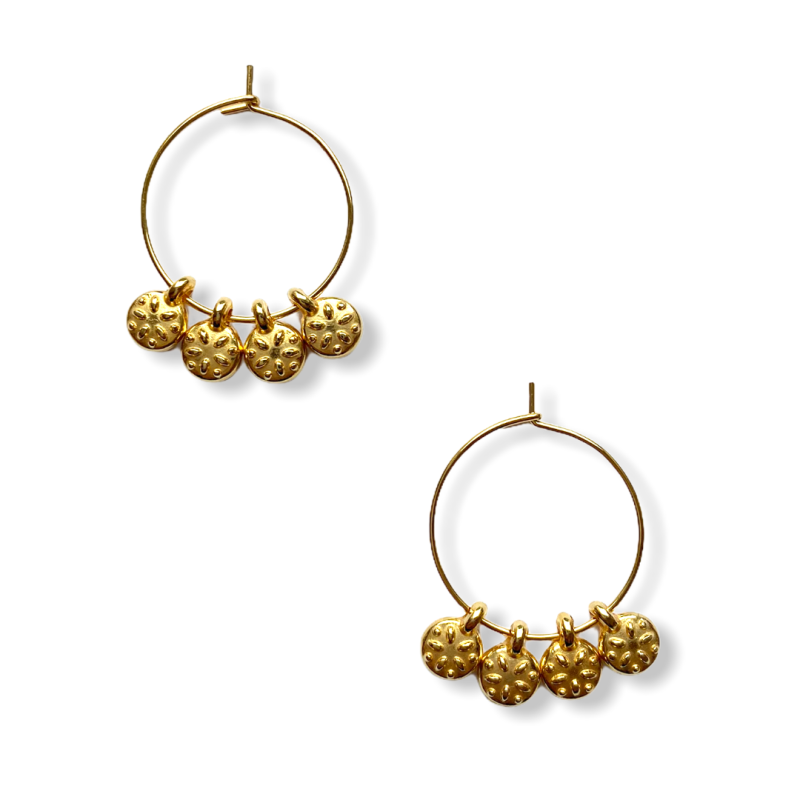 Tiny Coins Hoop Earrings
