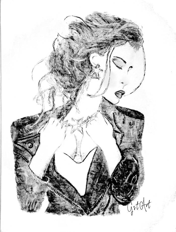 'The girl with the leather jacket'