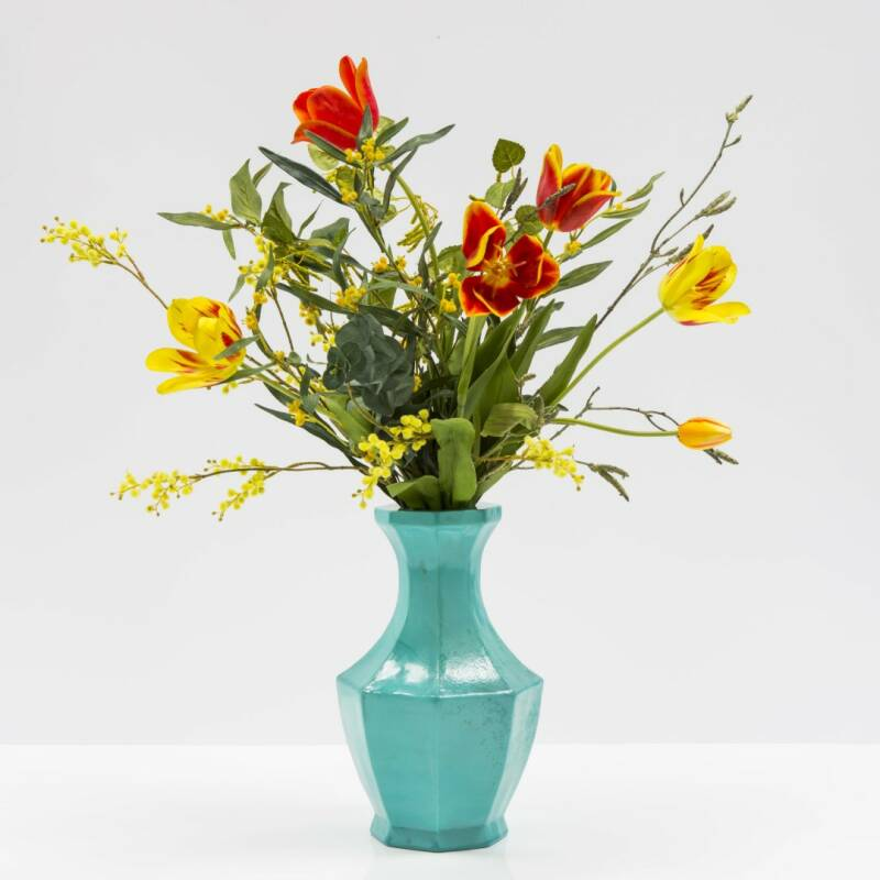 Turquoise vase (unique) with flower arrangement