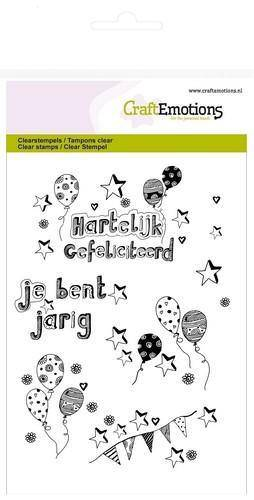 130501/1261 CraftEmotions clearstamps A6 - jarig ballonnen handlettering (NL)