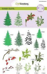 130501/2001 CraftEmotions Step clearstamps A5 - kerstbomen, takken Christmas Nature