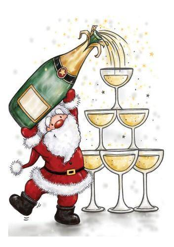 CL523 - Santa with Champagne