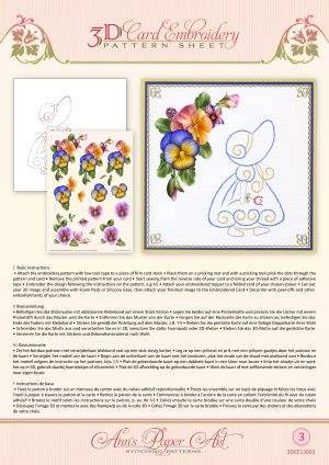 3DCE13003 - 3D Card Embroidery Pattern Sheets Summer Pansies