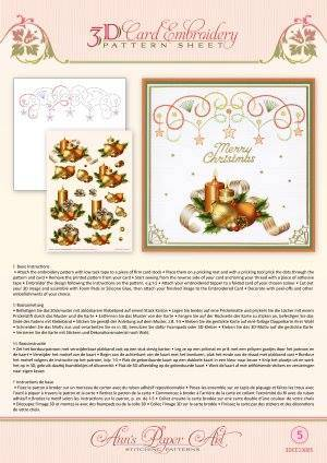 3DCE13005 - 3D Card Embroidery Pattern Sheets Holiday Decor