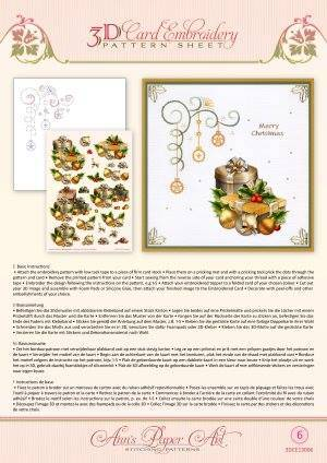 3DCE13006 - 3D Card Embroidery Pattern Sheets Christmas Gifts