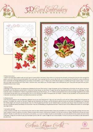 3DCE13008 - 3D Card Embroidery Pattern Sheets Christmas Bells