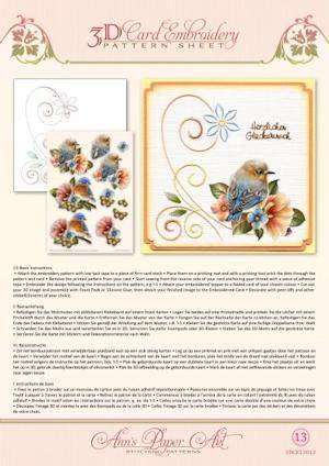 3DCE13013 - 3D Card Embroidery Pattern Sheets Garden Enchanted