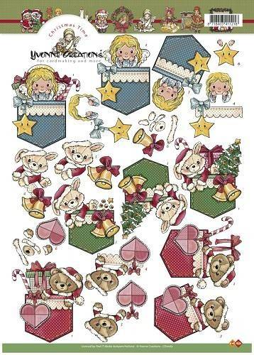CD10167 - 3D Knipvel - Yvonne Creations -  Christmas time beertjes