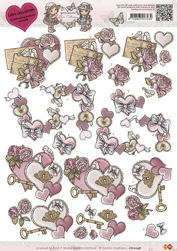CD10248 - 3D Knipvel - Yvonne Creations - Love Collection - Vintage heart