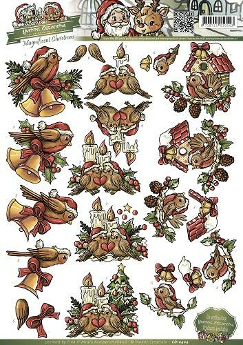 CD10404 - 3D Knipvel - Yvonne Creations - Magnificent Christmas - Birds at Christmas