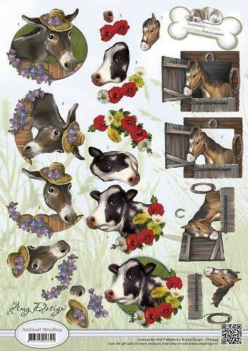 CD10454 - 3D Knipvel - Amy Design - Animal Medley - Farm Animals