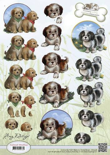 CD10536 - 3D Knipvel - Amy Design - Animal Medley - Puppies