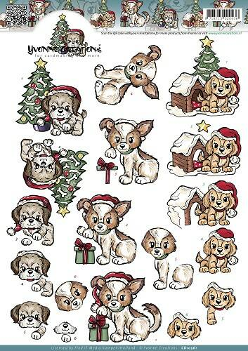 CD10561 - 3D Knipvel - Yvonne Creations - Christmas Puppies