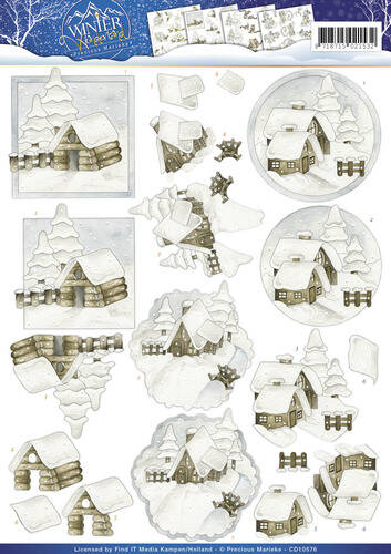 CD10576 - 3D Knipvel - Precious Marieke - Winter Wonderland - Snow cabins