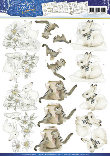 CD10577 - 3D Knipvel - Precious Marieke - Winter Wonderland - Winter Animals