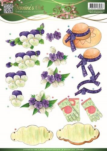 CD10836 - 3D Knipvel - Jeanine's Art - Garden Classics - Purple Flowers