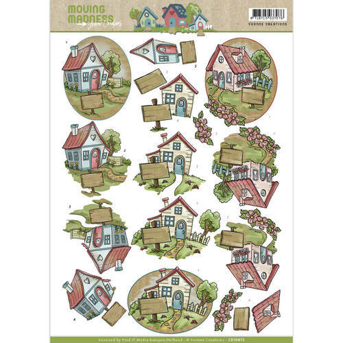 CD10872 - 3D Knipvel - Yvonne Creations - Moving Madness - Houses