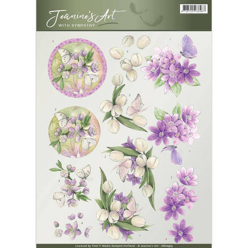 CD10913 - 3D Knipvel - Jeanine's Art - With Sympathy - Violet flowers
