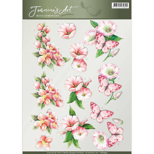 CD10914 - 3D Knipvel - Jeanine's Art - With Sympathy -pink flowers