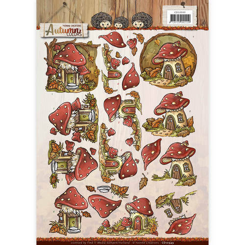 CD10949 - 3D Knipvel - Yvonne Creations - Autumn Colors - Mushrooms Houses