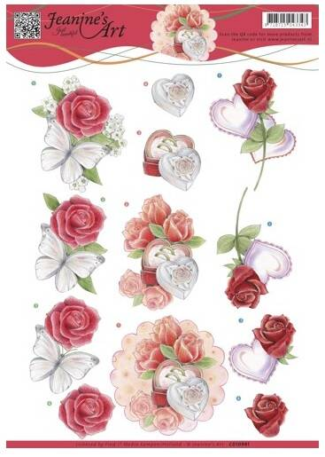 CD10981 - 3D Knipvel - Jeanine's Art - Roses and Hearts