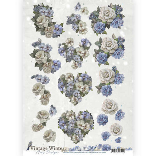 CD10985 - 3D Knipvel - Amy Design - Vintage winter - Winter Flowers