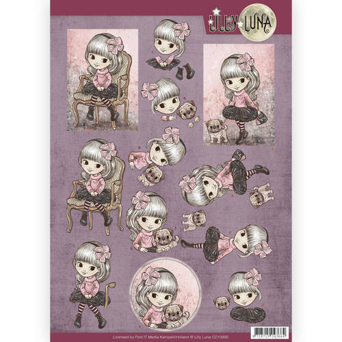 CD10995 - 3D Knipvel - Yvonne Creations - Lilly Luna - Beautiful in pink