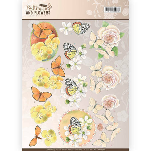 CD11001 - 3D Knipvel - Jeanine's Art - Classic Butterflies and Flowers - Yellow Flowers
