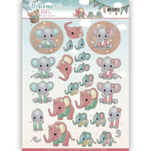CD11115 - 3D Knipvel - Yvonne Creations - Welcome Baby - Little Elephants