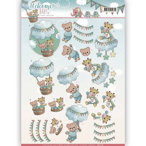 CD11116 - 3D Knipvel - Yvonne Creations - Welcome Baby - In The Air