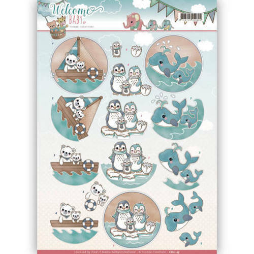 CD11117 - 3D Knipvel - Yvonne Creations - Welcome Baby - By The Sea