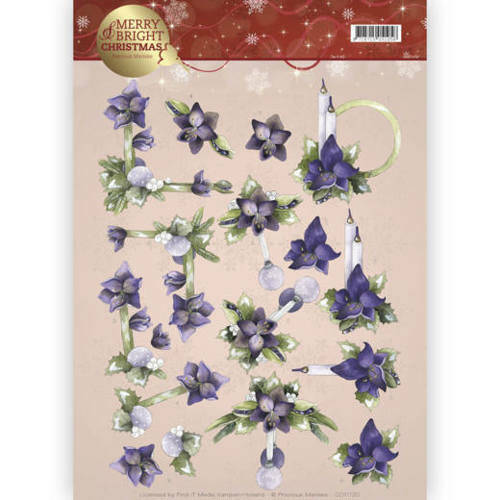 CD11120 - 3D knipvel - Precious Marieke - Merry and Bright - Amaryllis in purple